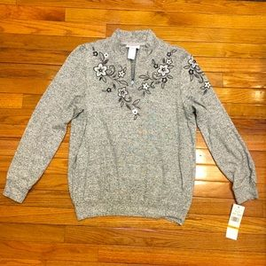 NWT Alfred Dunner Floral Embellished Gray Sweater